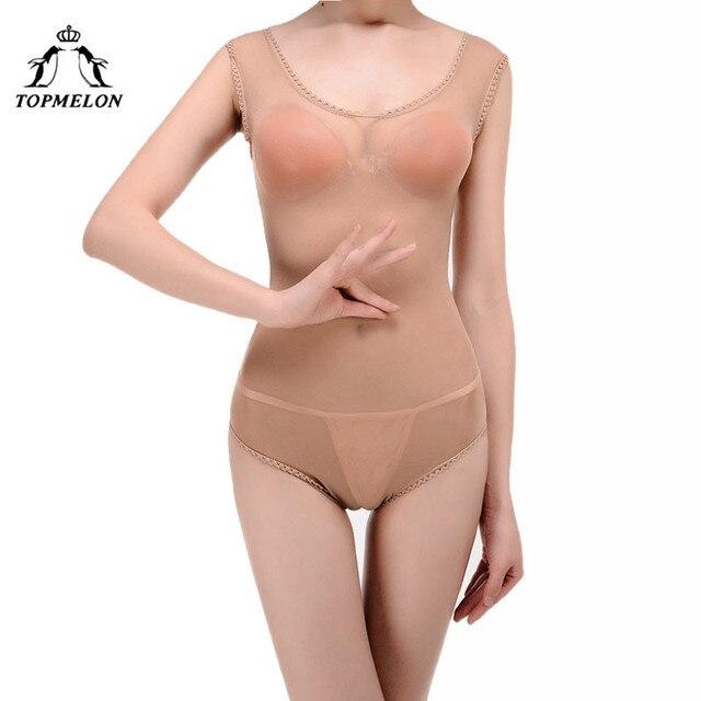 1219d867b7 TOPMELON Sexy Lingerie Bodysuit Shapewear Slimming Underwear Women Body  Shaper Thin Seamless Transparent Bodysuits