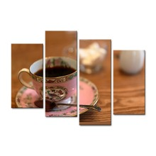 Modern Canvas Pictures HD Printed Wall Art Framework 4 Pieces Retro Tea Cup Set For Living Room Home Decoration Painting Posters(China)