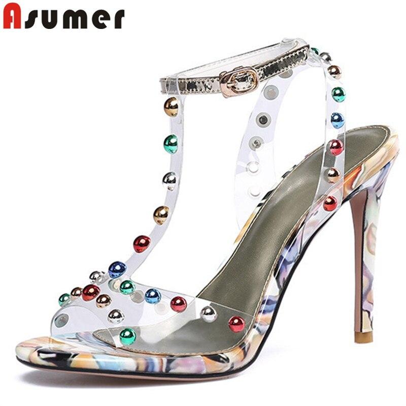 ASUMER Women Sandals Shoes Buckle High-Heels Big-Size Ladies Elegant New Super Rivet