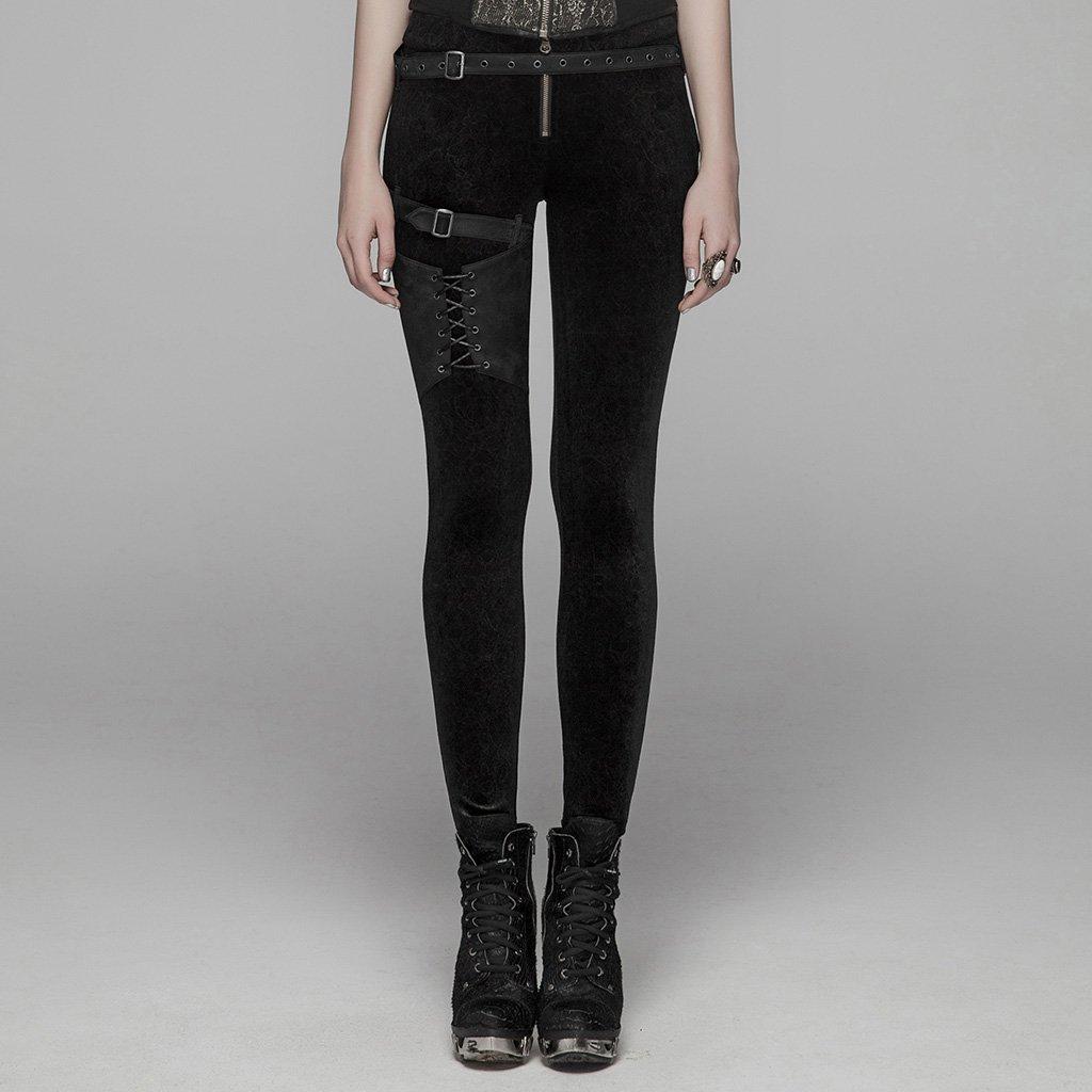 PUNK RAVE femmes gothique laçage Leggings mode Steampunk rétro velours crayon pantalon avec cuir Skinny pantalon