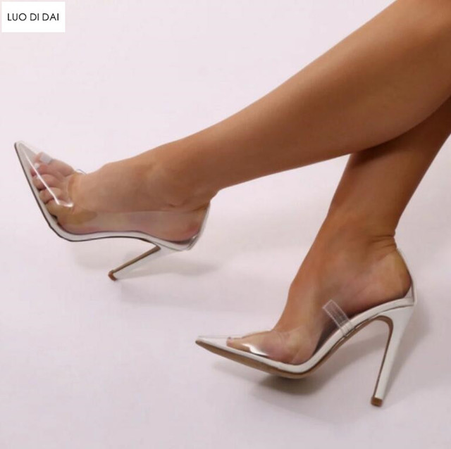 2f6559e0758 2019 New sexy women PVC high heels thin heel pumps party shoes PVC pumps  point toe dress shoes see through sexy wedding shoes