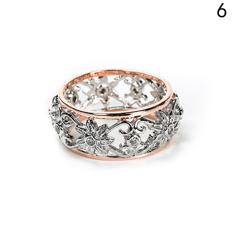 Silver Color Crystal Hollow Flower Wedding Rings for Women Jewelry Bague Bijoux Rose Gold Color Femme Eng