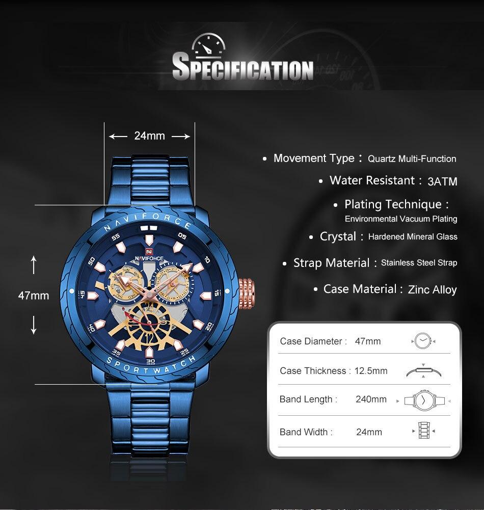 NAVIFORCE Fashion Watch For Men Top Brand Luxury Sport Watch Male Waterproof Quartz Wrist Watch Men's Stainless Steel Watch 2019 (3)