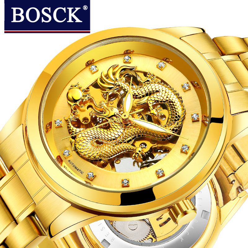 BOSCK Luxury Automatic Mechanical Wristwatches Gold Dragon Stainless Steel Band Men's Watch Waterproof relogio masculino Gift 2017 new sale mechanical man watch relogio masculino gold white watchband automatic date week movt waterproof mans wristwatches