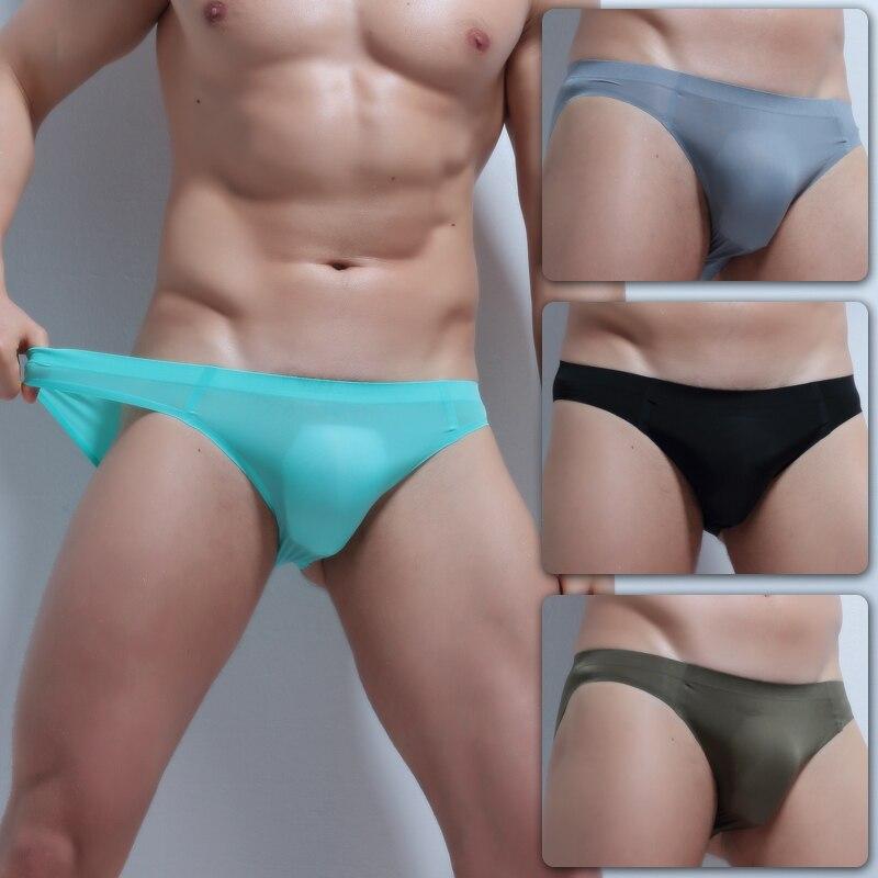 Silk Mens Briefs Transparent Penis Pouch Seemless Underpants 4 Pcs Hot Men Underwear Low Waist Thin Breathable Briefs