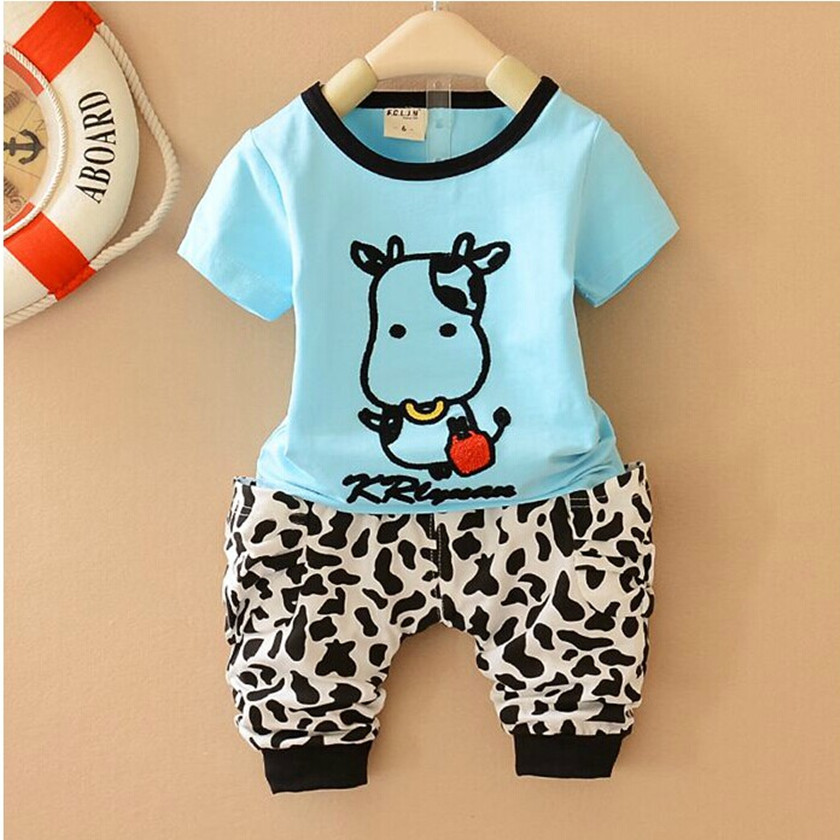 2018 Summer Baby Boys Clothes Sets Kids Casual Long-sleeved T-shirt+Pants Suit Tracksuit the Cow Children Cute Suits Hot S84647A
