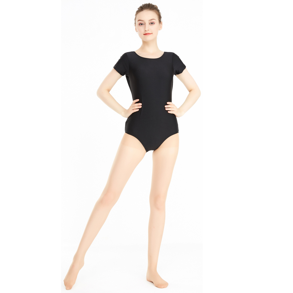 Women's Scoop Neck Short Sleeve Ballet Dance Leotards Dancer Class Clothes Adult One Piece Bodysuits