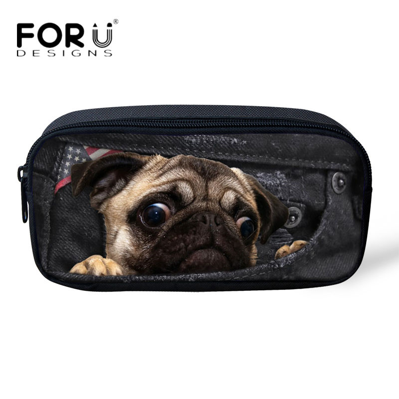 FORUDESIGNS Cute Denim Puppy Dog Prints Pencil Pouch for Children Brand Kids Girls Storage Bags Travel Women Makeup Cosmetic Bag
