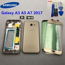 Dành cho Samsung Galaxy Samsung Galaxy A3 A5 A7 2017 A520 Full Nhà Ở Lưng Kính Phía Sau Pin Cửa Ốp Lưng A320 A520F Giữa Khung a720F Mặt Trước Sau