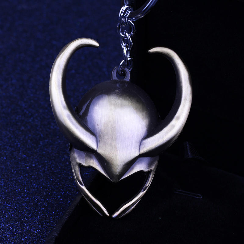 Avengers Loki helmet logo Keychain Keyring Metal Pendant Cosplay Collection gift
