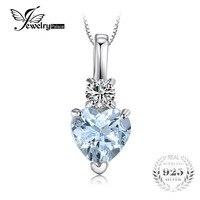 JewelryPalace Serce Miłość 0.8ct Naturalne Aquamarines Biały Topazs Wisiorek 925 Sterling Silver Naszyjnik Biżuteria To 45 cm Łańcucha