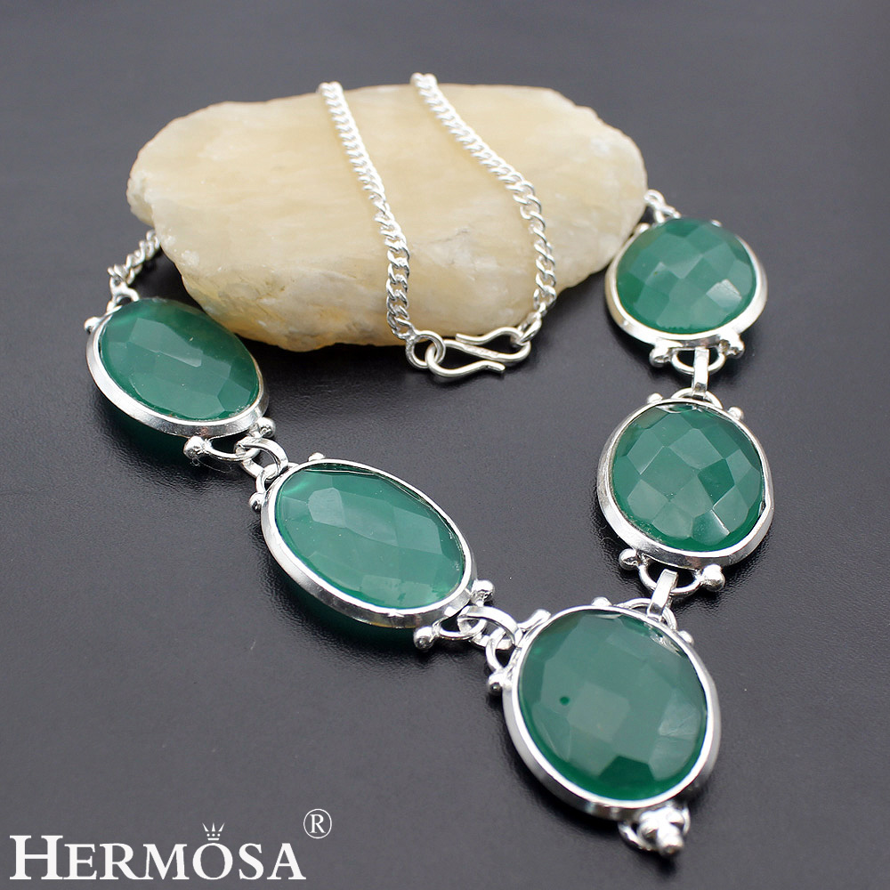 HERMOSA Jewelry Unique Natural Oval 925 Sterling Silver Women Necklace 20 inches HM152