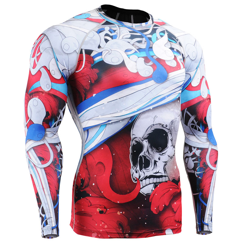 Men Boxing Jersey Shirt Long Sleeve Skulls Printing Tops Clothes 3d Sublimation Printed Slim Fit Clothing For Gym Exercise