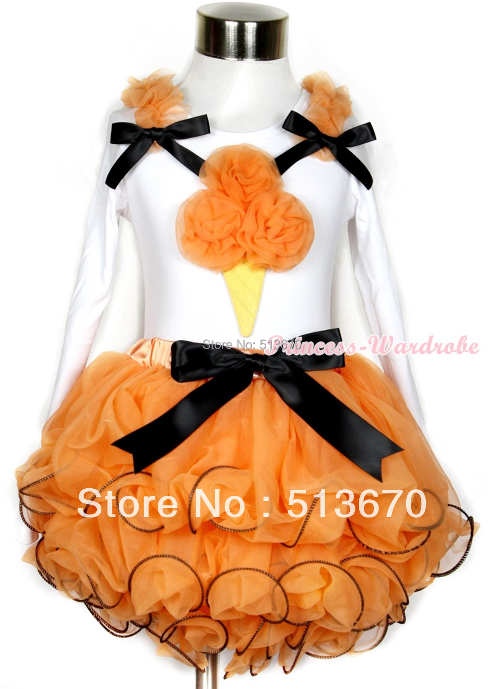 Halloween White Top Orange Rosettes Ice CreamBaby Girl Orange Petal Skirt NB-8Year  MAMW285 цены онлайн