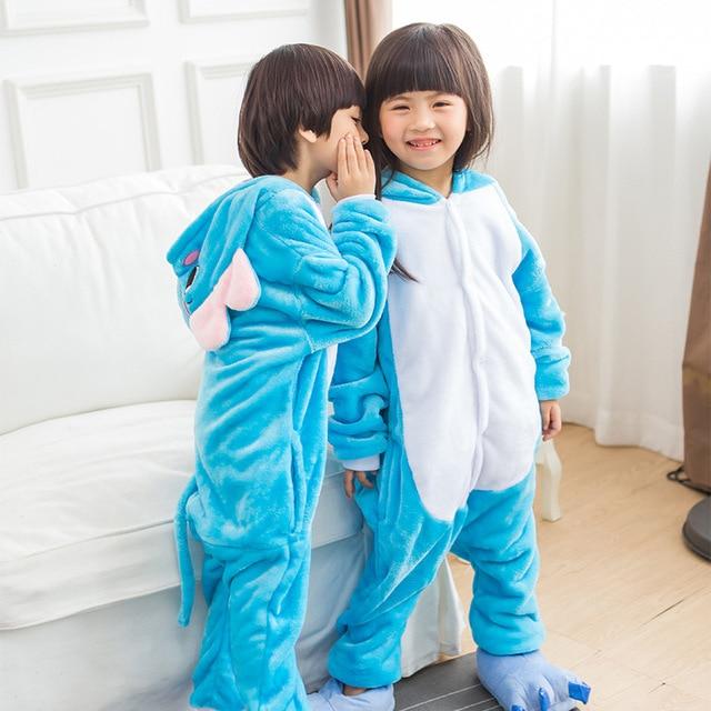 d6d8aa4077 Cartoon Blue Elephant Cosplay Costume Onesies Pajamas Winter Child s Animal  Suits Pyjamas Kid s Sleepwear Halloween Party Wear