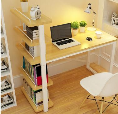 White Computer Desk with Side Bookshelf 1