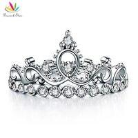 Pauw Star Solid 925 Sterling Zilveren Ring Crown Vorm CZ voor Lady Trendy Stijlvolle CFR8275
