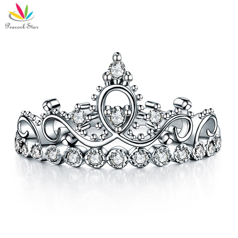Peacock Star Solid 925 Sterling Silver Ring Crown Shape CZ for Lady Trendy Stylish CFR8275 graceful solid color rhinestone crown shape ring for women