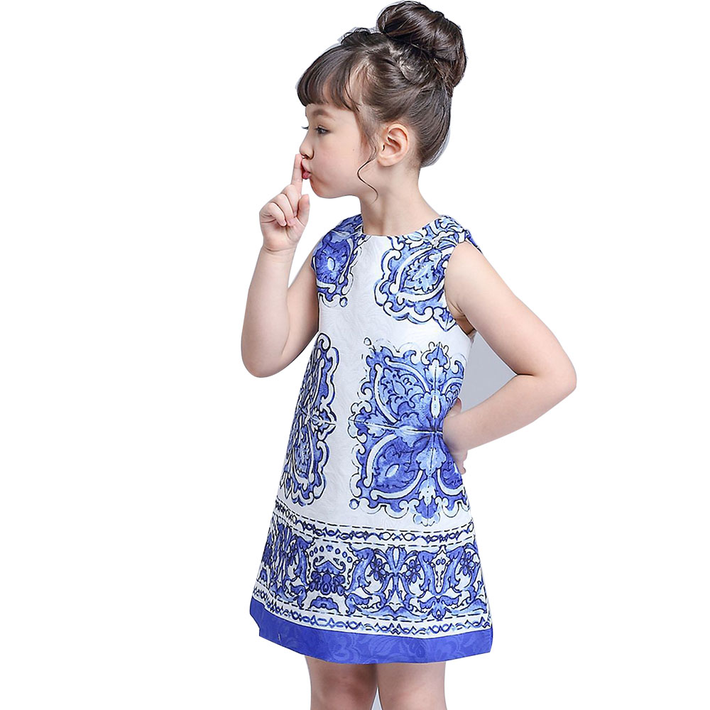 BINIDUCKLING 2017 Summer Girls Dress Children Clothing Designer Brand rose Blue and white Porcelain Princess Party Kids Clothes disney princess brass key 2003 holiday collection porcelain doll snow white