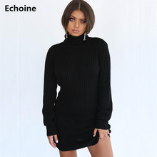 Autumn Knitted Long Sleeve Dress Solid Pullover Turtleneck Bodycon Dress Mini Latern sleeve Sweater Vintage Sexy Slim Knit Dress цена
