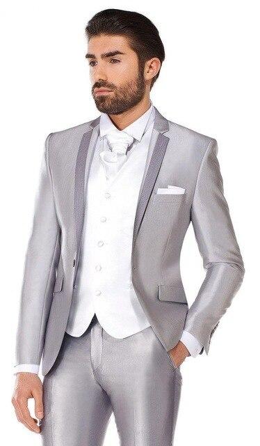 เงินแจ็คเก็ตชายชุด3ชิ้นแฟชั่นทักซิโดCustome Homme T Erno Masculinoสลิมฟิตสูท(เสื้อ+กางเกง+เสื้อ+ +ผูกผ้าเช็ดหน้า)-ใน สูท จาก เสื้อผ้าผู้ชาย บน   1