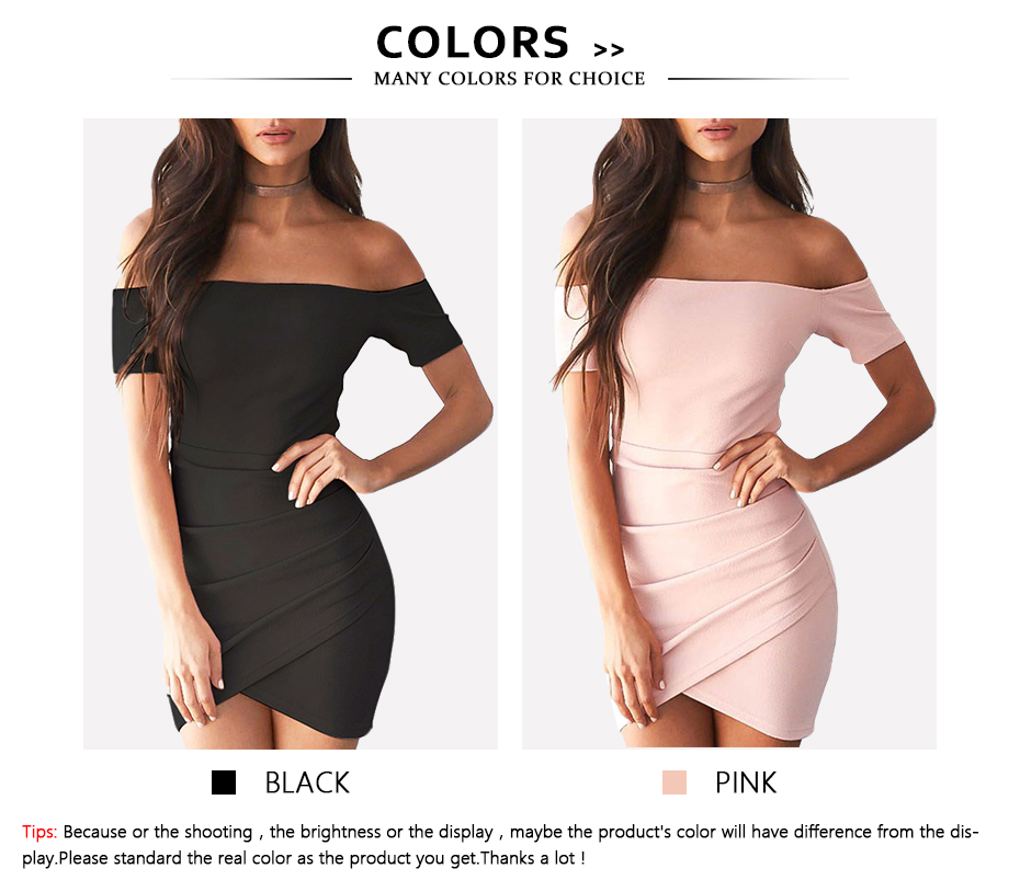 Refeeldeer Summer Dress Women 2017 Off Shoulder Short Party Dress Sexy Pink Black Backless Mini Dress Summer Sundress Robe Femme 6