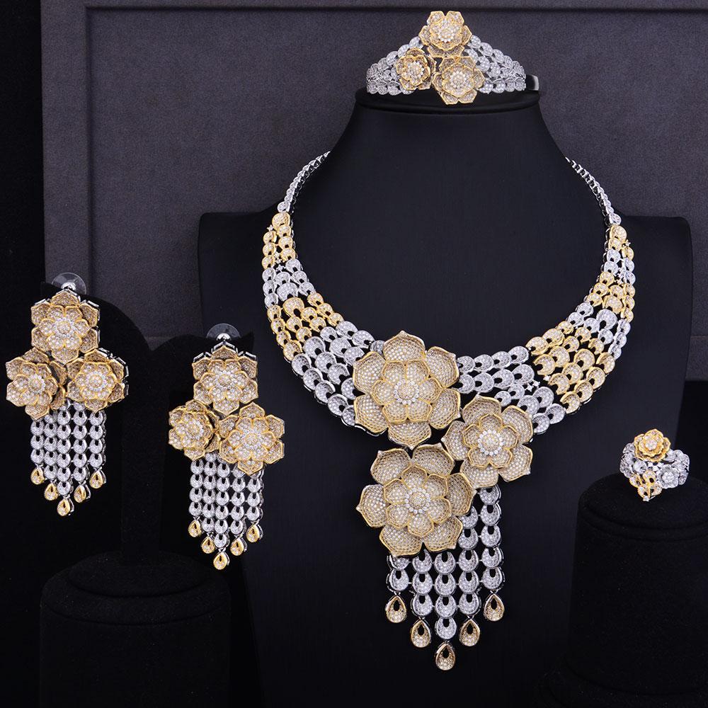 GODKI Super Luxury Tassel Drop Rose Flower Boom Full Micro Cubic Zirconia Women Wedding Dress Necklace