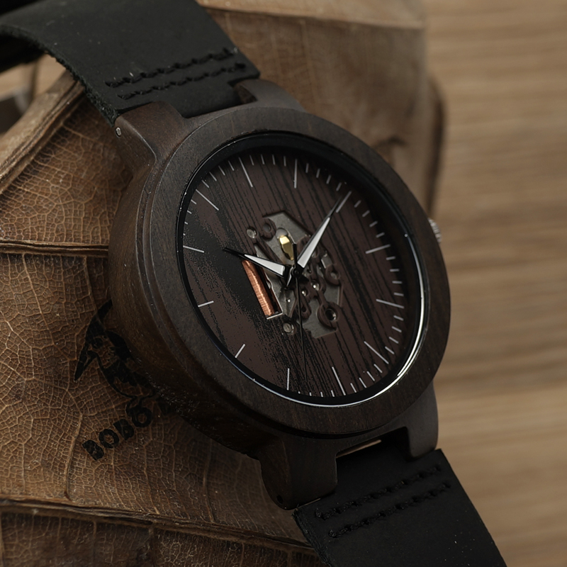 BOBO BIRD Black Wood Mens Watch Quartz Watches Real Leather Band Wooden Wristwatches Vintage Relogio Masculino C-H30 free shipping dpdt electromagnetic power relay dc 12v rating coil w 35mm din rail socket