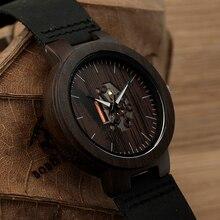 Bobo bird madera negro para hombre reloj relogio masculino relojes de cuarzo banda de cuero relojes de pulsera de la vendimia de madera real c-h30