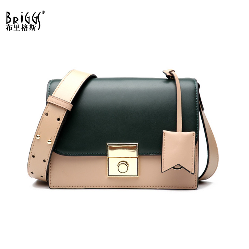 BRIGGS Genuine Leather Women Messenger Bag Fashion Patchwork Leather Shoulder Bag Business Flap Bag Small Women Handbag ttou 2017 fashion women shoulder bag spring and summer small flap bag pu leather women messenger bag envelope women handbag