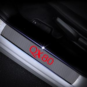 Image 4 - Carbon Fiber Vinyl Sticker Car Door Sills Door Threshold For Infiniti QX80 Door Entry Guard Door Sill Scuff Plate 4Pcs Auto Part