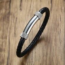 Мужской браслет из искусственной кожи черный нержавеющей стали