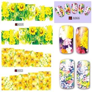 Image 2 - 48Pcs Hot Water Transfer Ontworpen Nail Sticker Blossom Bloem Kleurrijke Volledige Tips Stempel Decals Nail Art Schoonheid A049 096SET