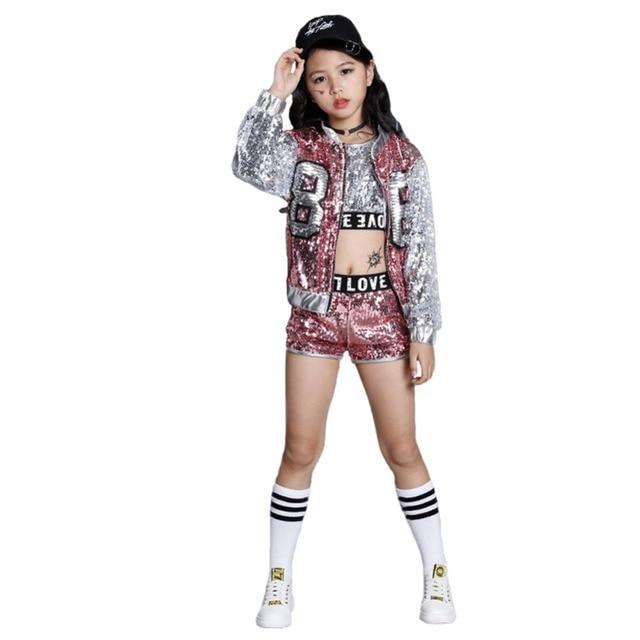 fbbbec3d2d2e Girls Paillette Glitter Dancewear Costume Hip Hop Modern Jazz Sequin ...
