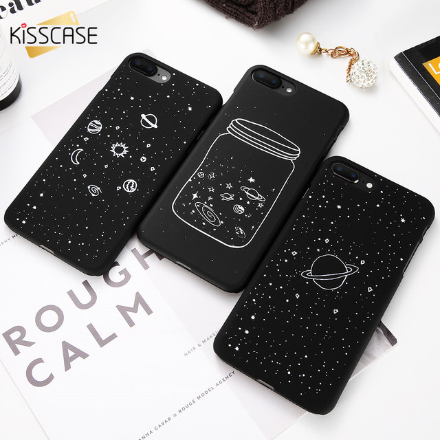 Cute Black Galaxy Universe Planet Matte Case For iPhone 5S SE iPhone 6 6S 7 8 plus iPhone X 10