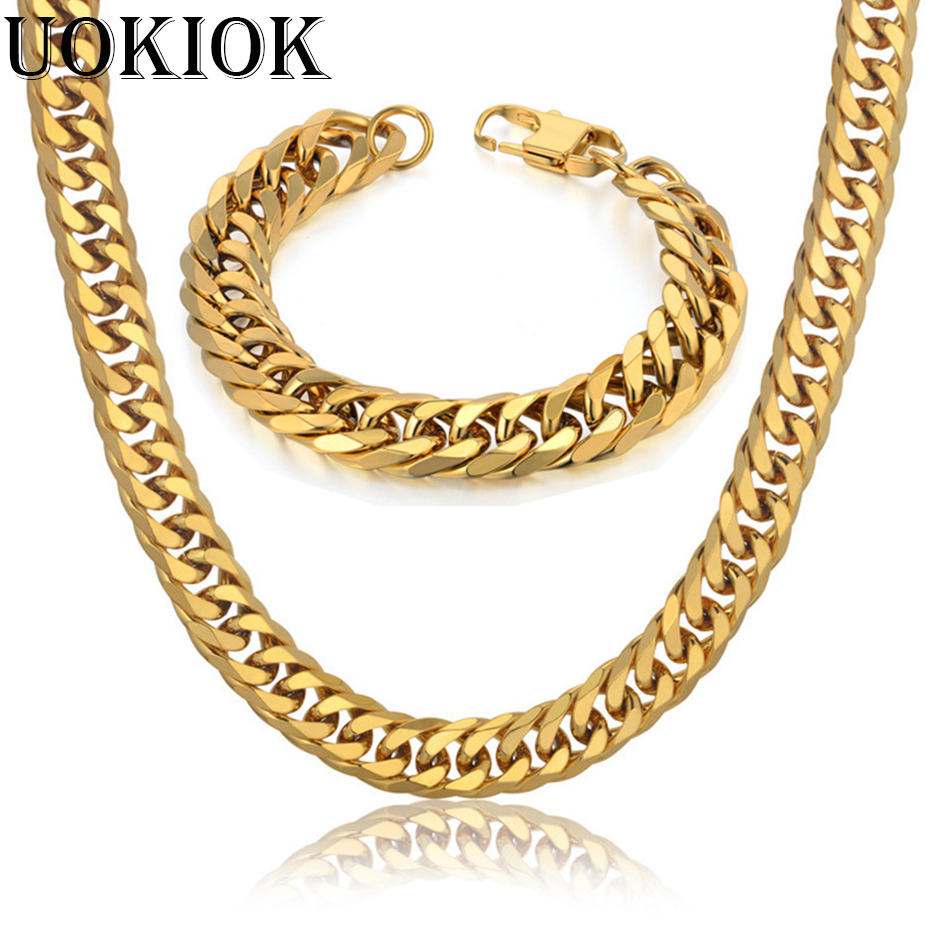 14MM Mens Boys Miami Cuban Link Bracelet & Chain Set Heavy Thick Gold Color Stainless Steel Hip Hop Necklace Chain Jewelry Sets