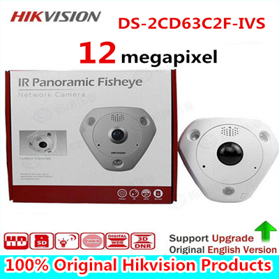 DHL Fast Free shipping English Version 12MP Fisheye Network Camera , 360 view angle ,DS-2CD63C2F-IVS Audio/Alarm IO/ RS485 in stock international english version ds 2cd2942f is english version 4mp compact fisheye network cctv camera fisheye