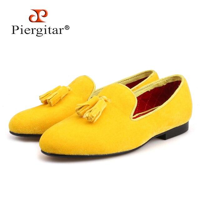 Piergitar/Новинка 2018 года; женские бархатные туфли ручной работы; Модные женские лоферы для вечеринки и свадьбы; женская обувь на плоской подошве с кисточками
