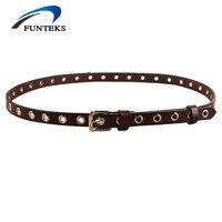 FUNTEKS Vintage Adjustable Thin Leather Belts For Women Punching Hollow Alloy Pin Buckle Jeans Belt Women