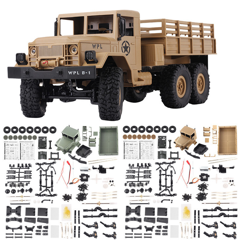 WPL B-16 Off-Road RC Military Truck Kit 1:16 2.4G RC Car 4wd Remote Control Car Parts 6 Wheel Crawler Buggy DIY Toy For Children