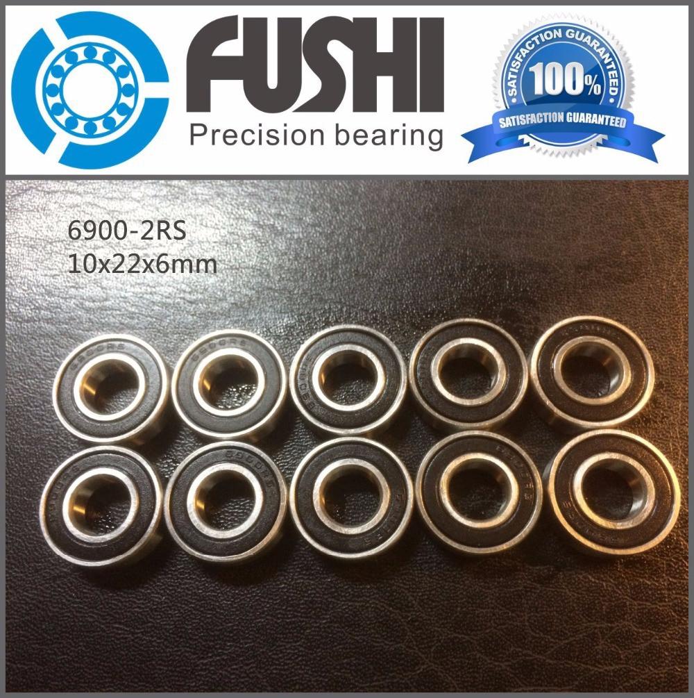 6900-2RS Bearing ABEC-1 (10PCS) 10x22x6 mm Metric Thin Section 6900 2RS Ball Bearings 6900RS 61900 2RS 6702rs bearing abec 3 10pcs 15 21 4 mm thin section 6702 2rs ball bearings 61702 rs 6702 2rs with orange sealed