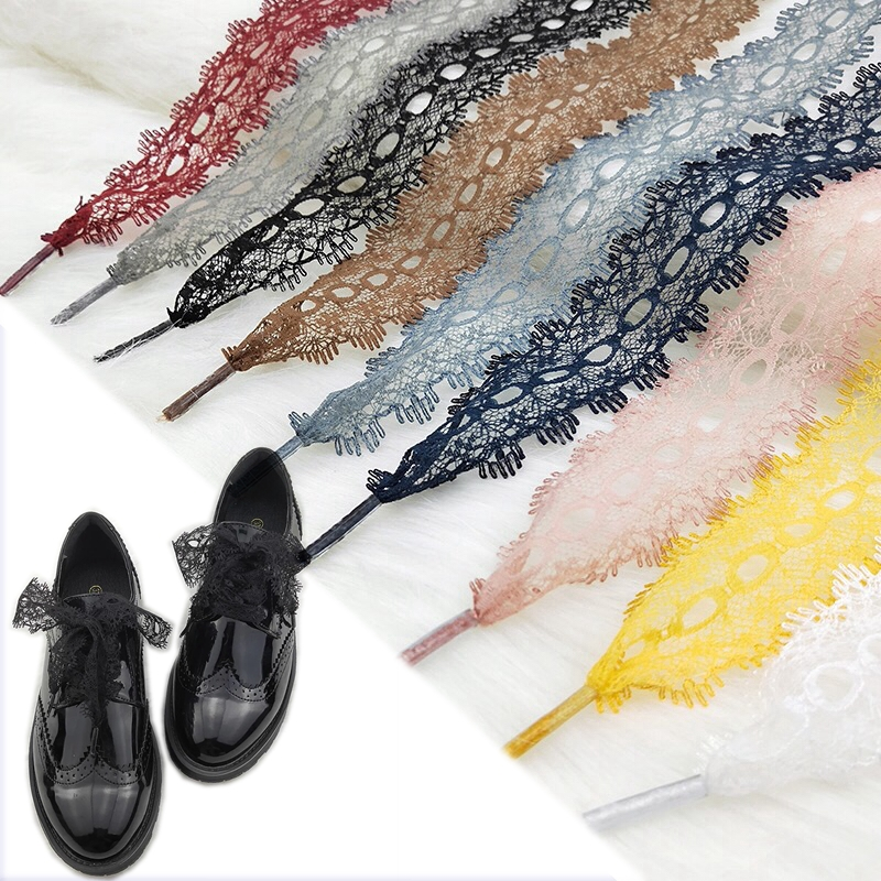 1Pair Colorful Openwork Lace Laces Off White Shoes Lace Sneaker Casuals Leather Shoelaces 3CM Width 80/100/120CM Length Shoelace