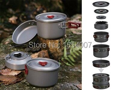 4-5 personnes Set Be Cocina poêle + chaudron + Pot moyen + théière Camp cuisson ustensiles de cuisine extérieur couverts feu érable FMC-209