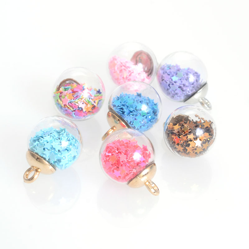 20pcs/Lot 15mm Colorful Transparent Glass Ball Star Charms Pendant Finding for Hair Jewelry Accessories Earring Charms