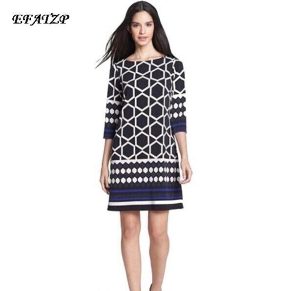 Luksusowe marki koszulka sukienka jedwabna nowy projektant kobiet geometryczne drukowane 3/4 z długim rękawem Stretch Plus rozmiar sukienka XXL sukienki na co dzień sukienka w Suknie od Odzież damska na  Grupa 1