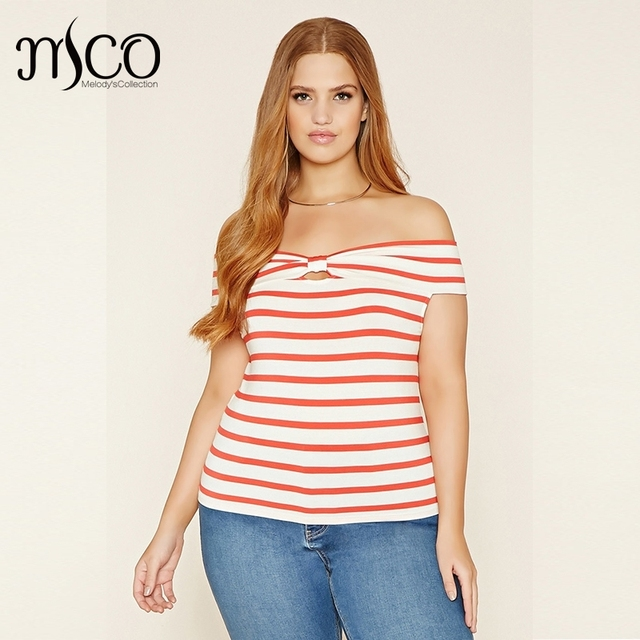 dd9e24086e376 2017 Summer Plus Size Off The Shoulder Top Sexy Short Sleeves Cut Out Bow  Accent Stripe T-shirt 5xl 6xl Casual Slim Fit Tee Tops
