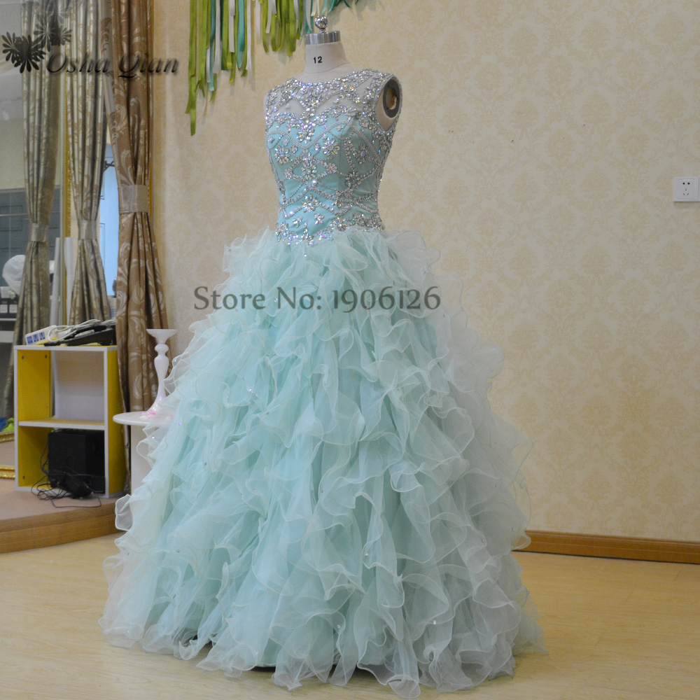 Luxury Mint Green Quinceanera Dresses Online Rhinstones Bling Sweet ...
