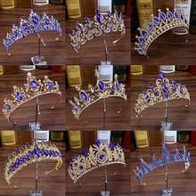 Diamantes de imitación Boda nupcial pelo joyas de cristal azul de las mujeres diadema gran Tiaras de Quinceañera y coronas para novias