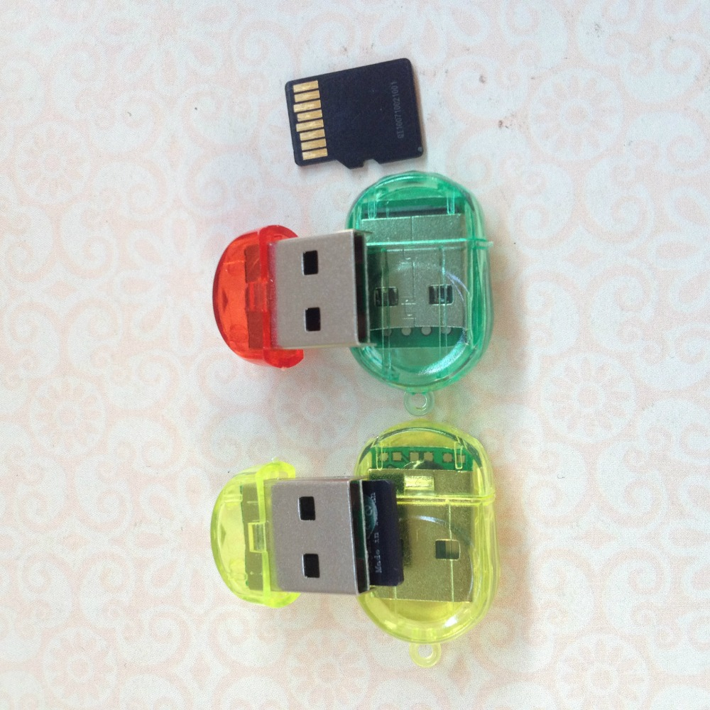 MINI USB 2.0 TF Nano Micro SD SDHC SDXC Memory Card Reader Writer USB Flash Drive Memory Card Readers Random Color