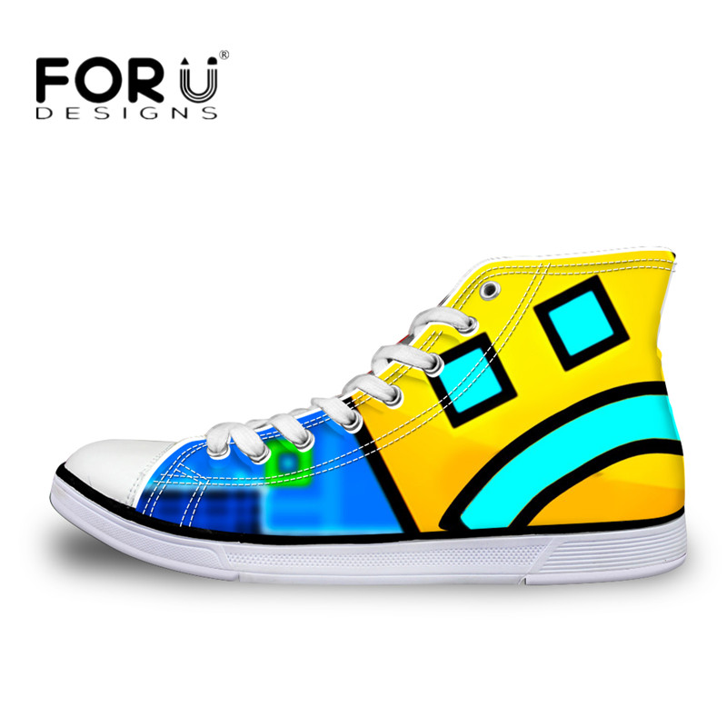FORUDESIGNS Sneakers Geometry Dash Pattern High Top Shoes Woman Classic Lace Up Vulcanize Shoes Autumn Students Light Mesh Flats цены онлайн